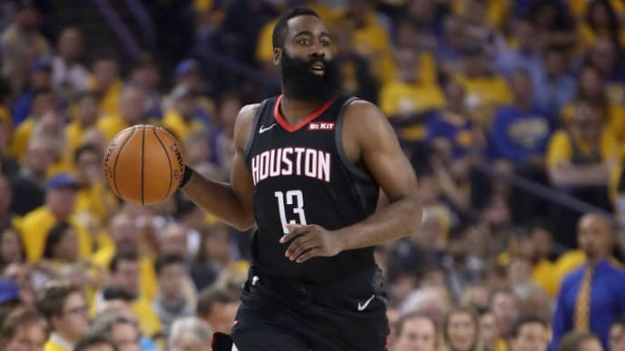 OAKLAND, CALIFORNIA - MAY 08:   James Harden #13 of the Houston Rockets in action against the Golden State Warriors during Game Five of the Western Conference Semifinals of the 2019 NBA Playoffs at ORACLE Arena on May 08, 2019 in Oakland, California.  NOTE TO USER: User expressly acknowledges and agrees that, by downloading and or using this photograph, User is consenting to the terms and conditions of the Getty Images License Agreement.  (Photo by Ezra Shaw/Getty Images)