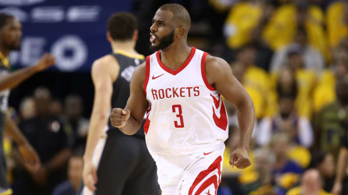 OAKLAND, CA - MAY 22:  Chris Paul #3 of the Houston Rockets reacts after a basket against the Golden State Warriors during Game Four of the Western Conference Finals of the 2018 NBA Playoffs at ORACLE Arena on May 22, 2018 in Oakland, California. NOTE TO USER: User expressly acknowledges and agrees that, by downloading and or using this photograph, User is consenting to the terms and conditions of the Getty Images License Agreement.  (Photo by Ezra Shaw/Getty Images)