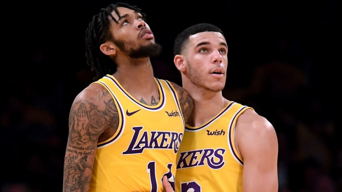 LOS ANGELES, CA - OCTOBER 20:  Brandon Ingram #14 of the Los Angeles Lakers is restrained by Lonzo Ball #2 of the Los Angeles Lakers during a 124-115 loss to the Houston Rockets at Staples Center on October 20, 2018 in Los Angeles, California.  (Photo by Harry How/Getty Images)