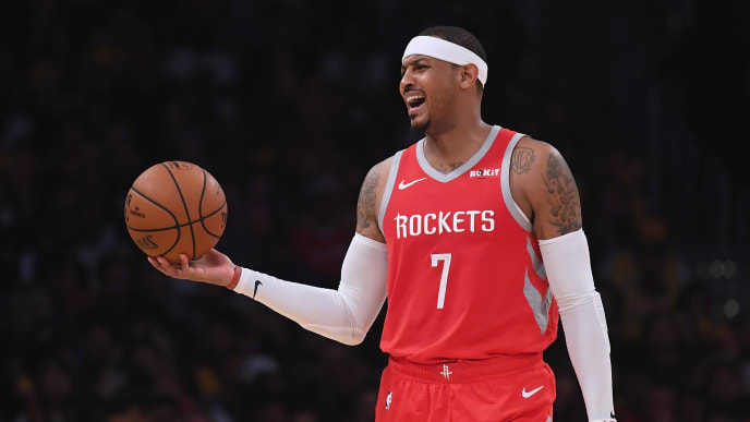 LOS ANGELES, CA - OCTOBER 20:  Carmelo Anthony #7 of the Houston Rockets reacts to his offensive foul during a 124-115 win over the Los Angeles Lakers at Staples Center on October 20, 2018 in Los Angeles, California.  (Photo by Harry How/Getty Images)