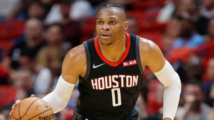 MIAMI, FLORIDA - OCTOBER 18:  Russell Westbrook #0 of the Houston Rockets in action against the Miami Heat during the first half at American Airlines Arena on October 18, 2019 in Miami, Florida. NOTE TO USER: User expressly acknowledges and agrees that, by downloading and or using this photograph, User is consenting to the terms and conditions of the Getty Images License Agreement. (Photo by Michael Reaves/Getty Images)