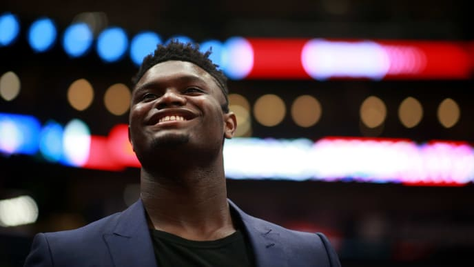 NEW ORLEANS, LOUISIANA - NOVEMBER 11: Zion Williamson #1 of the New Orleans Pelicans stands on the court during a NBA game against the Houston Rockets at the Smoothie King Center on November 11, 2019 in New Orleans, Louisiana. NOTE TO USER: User expressly acknowledges and agrees that, by downloading and or using this photograph, User is consenting to the terms and conditions of the Getty Images License Agreement. (Photo by Sean Gardner/Getty Images)