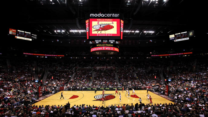 PORTLAND, OR - NOVEMBER 05:  A general view of the Moda Center during the game between the Portland Trail Blazers and the Houston Rockets on November 5, 2013 in Portland, Oregon.  NOTE TO USER: User expressly acknowledges and agrees that, by downloading and or using this photograph, User is consenting to the terms and conditions of the Getty Images License Agreement.  (Photo by Jonathan Ferrey/Getty Images)