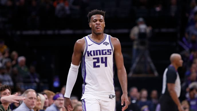 SACRAMENTO, CA - APRIL 02: Buddy Hield #24 of the Sacramento Kings reacts to a play against the Houston Rockets at Golden 1 Center on April 2, 2019 in Sacramento, California. NOTE TO USER: User expressly acknowledges and agrees that, by downloading and or using this photograph, User is consenting to the terms and conditions of the Getty Images License Agreement. (Photo by Lachlan Cunningham/Getty Images)