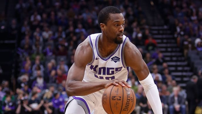 SACRAMENTO, CA - APRIL 02: Harrison Barnes #40 of the Sacramento Kings drives to the basket against the Houston Rockets at Golden 1 Center on April 2, 2019 in Sacramento, California. NOTE TO USER: User expressly acknowledges and agrees that, by downloading and or using this photograph, User is consenting to the terms and conditions of the Getty Images License Agreement. (Photo by Lachlan Cunningham/Getty Images)
