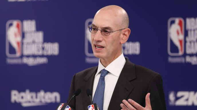 SAITAMA, JAPAN - OCTOBER 08: Commissioner of the National Basketball Association (NBA) Adam Silver speaks during a press conference prior to the preseason game between Houston Rockets and Toronto Raptors at Saitama Super Arena on October 08, 2019 in Saitama, Japan. NOTE TO USER: User expressly acknowledges and agrees that, by downloading and/or using this photograph, user is consenting to the terms and conditions of the Getty Images License Agreement.   (Photo by Takashi Aoyama/Getty Images)