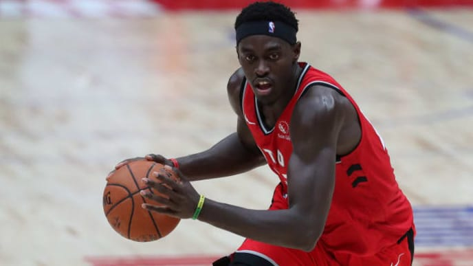SAITAMA, JAPAN - OCTOBER 08: Pascal Siakam #43 of Toronto Raptors dribbles the ball during the preseason game between Houston Rockets and Toronto Raptors at Saitama Super Arena on October 08, 2019 in Saitama, Japan. NOTE TO USER: User expressly acknowledges and agrees that, by downloading and/or using this photograph, user is consenting to the terms and conditions of the Getty Images License Agreement.   (Photo by Takashi Aoyama/Getty Images)