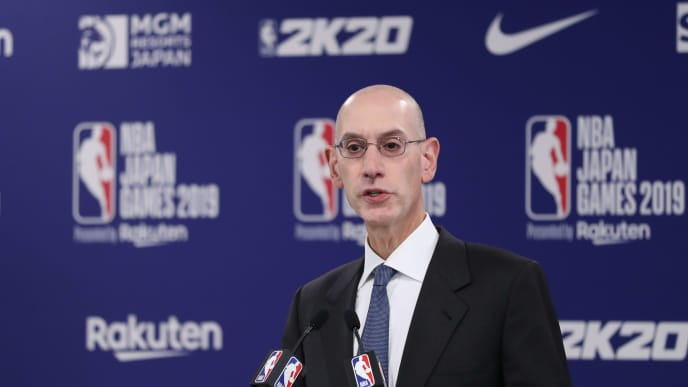 SAITAMA, JAPAN - OCTOBER 08: Commissioner of the National Basketball Association (NBA) Adam Silver speaks during a press conference prior to the preseason game between Houston Rockets and Toronto Raptors at Saitama Super Arena on October 08, 2019 in Saitama, Japan. NOTE TO USER: User expressly acknowledges and agrees that, by downloading and or using this photograph, User is consenting to the terms and conditions of the Getty Images License Agreement. (Photo by Takashi Aoyama/Getty Images)
