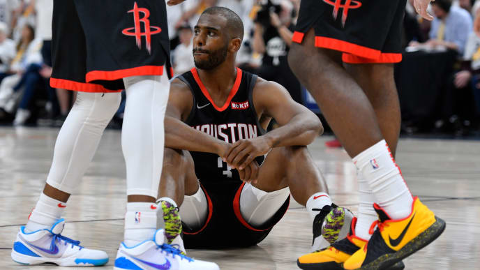 SALT LAKE CITY, UT - APRIL 22: Chris Paul #3 of the Houston Rockets reacts to being called for a foul in the second half of Game Four during the first round of the 2019 NBA Western Conference Playoffs against the Utah Jazz at Vivint Smart Home Arena on April 22, 2019 in Salt Lake City, Utah. NOTE TO USER: User expressly acknowledges and agrees that, by downloading and or using this photograph, User is consenting to the terms and conditions of the Getty Images License Agreement. (Photo by Gene Sweeney Jr./Getty Images)