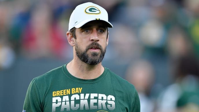 GREEN BAY, WISCONSIN - AUGUST 08: Aaron Rodgers #12 of the Green Bay Packers looks on before the preseason game against the Houston Texans at Lambeau Field on August 08, 2019 in Green Bay, Wisconsin. (Photo by Quinn Harris/Getty Images)