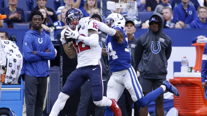 INDIANAPOLIS, INDIANA - OCTOBER 20: Kenny Stills #12 of the Houston Texans catches a pass while being defended by Rock Ya-Sin #34 of the Indianapolis Colts during the second quarter at Lucas Oil Stadium on October 20, 2019 in Indianapolis, Indiana. (Photo by Justin Casterline/Getty Images)