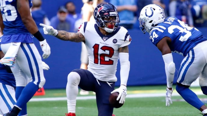 INDIANAPOLIS, INDIANA - OCTOBER 20: Kenny Stills #12 of the Houston Texans signals for a first down after a play during the third quarter during the game against the Indianapolis Colts at Lucas Oil Stadium on October 20, 2019 in Indianapolis, Indiana. (Photo by Justin Casterline/Getty Images)