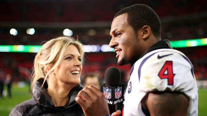 LONDON, ENGLAND - NOVEMBER 03: Deshaun Watson #4 of the Houston Texans is interviewed following the NFL match between the Houston Texans andJacksonville Jaguars at Wembley Stadium on November 03, 2019 in London, England. (Photo by Jack Thomas/Getty Images)