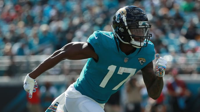 JACKSONVILLE, FL - OCTOBER 21:  D.J. Chark #17 of the Jacksonville Jaguars in action during their game against the Houston Texans at TIAA Bank Field on October 21, 2018 in Jacksonville, Florida.  (Photo by Scott Halleran/Getty Images)