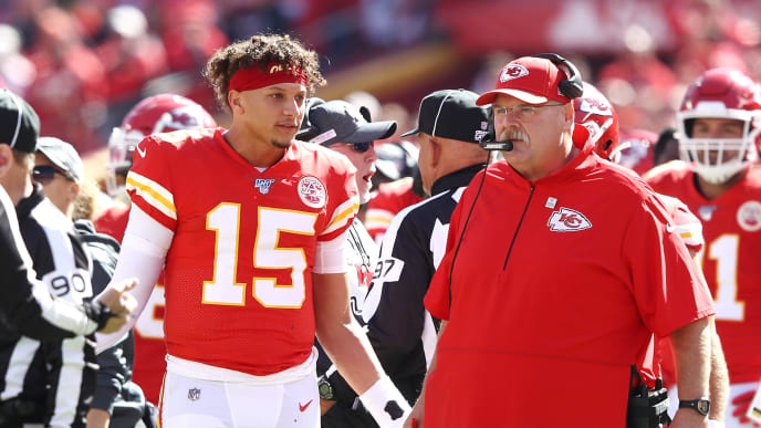 KANSAS CITY, MISSOURI - OCTOBER 13: Head coach Andy Reid of the Kansas City Chiefs and Patrick Mahomes #15 react to a call during the first half against the Houston Texans at Arrowhead Stadium on October 13, 2019 in Kansas City, Missouri. (Photo by Jamie Squire/Getty Images)