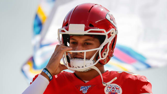 KANSAS CITY, MO - OCTOBER 13: Patrick Mahomes #15 of the Kansas City Chiefs runs onto the football field during player introductions prior to the game against the Houston Texans at Arrowhead Stadium on October 13, 2019 in Kansas City, Missouri. (Photo by David Eulitt/Getty Images)