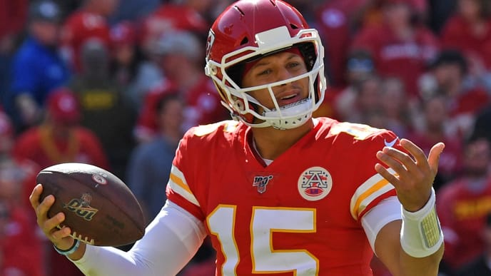 KANSAS CITY, MO - OCTOBER 13: Quarterback Patrick Mahomes #15 of the Kansas City Chiefs reacts after a flag was thrown during a play in the second half against the Houston Texans at Arrowhead Stadium on October 13, 2019 in Kansas City, Missouri. (Photo by Peter G. Aiken/Getty Images)