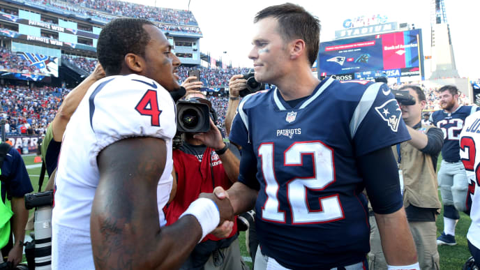 FOXBORO, MA - SEPTEMBER 24: Tom Brady #12 of the New England Patriots shakes hands with Deshaun Watson #4 of the Houston Texans after the Patriots defeat the Texans 36-33 at Gillette Stadium on September 24, 2017 in Foxboro, Massachusetts. (Photo by Maddie Meyer/Getty Images)