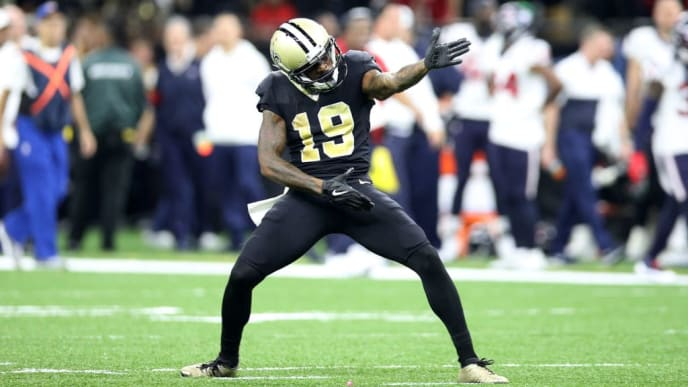NEW ORLEANS, LOUISIANA - SEPTEMBER 09: Ted Ginn #19 of the New Orleans Saints reacts after a first down against the Houston Texans  at Mercedes Benz Superdome on September 09, 2019 in New Orleans, Louisiana. (Photo by Chris Graythen/Getty Images)