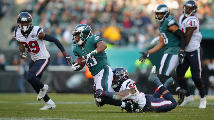 PHILADELPHIA, PA - DECEMBER 23:  Running back Darren Sproles #43 of the Philadelphia Eagles is tackled by inside linebacker Benardrick McKinney #55 of the Houston Texans during the third quarter at Lincoln Financial Field on December 23, 2018 in Philadelphia, Pennsylvania.  (Photo by Brett Carlsen/Getty Images)