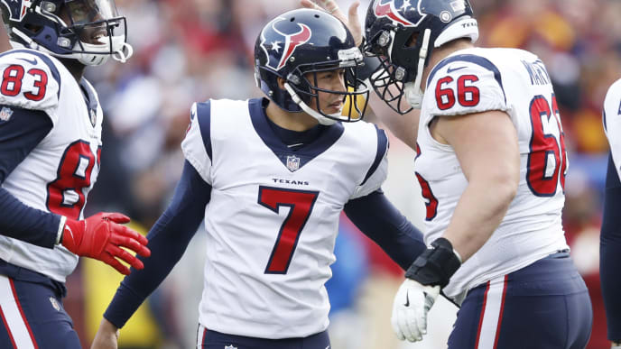 LANDOVER, MD - NOVEMBER 18: Ka'imi Fairbairn #7 of the Houston Texans celebrates after a 54-yard field goal to give his team the lead against the Washington Redskins in the fourth quarter of the game at FedExField on November 18, 2018 in Landover, Maryland. The Texans won 23-21. (Photo by Joe Robbins/Getty Images)