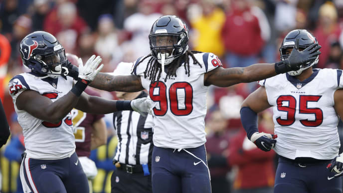 LANDOVER, MD - NOVEMBER 18: Jadeveon Clowney #90 of the Houston Texans celebrates after a sack against the Washington Redskins in the fourth quarter of the game at FedExField on November 18, 2018 in Landover, Maryland. The Texans won 23-21. (Photo by Joe Robbins/Getty Images)