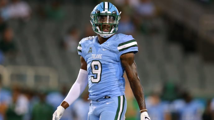 NEW ORLEANS, LOUISIANA - SEPTEMBER 19: Jaylon Monroe #9 of the Tulane Green Wave reacts during a game against the Houston Cougars at Yulman Stadium on September 19, 2019 in New Orleans, Louisiana. (Photo by Jonathan Bachman/Getty Images)