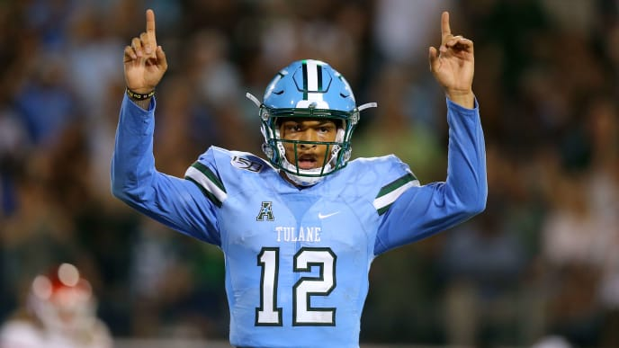 NEW ORLEANS, LOUISIANA - SEPTEMBER 19: Justin McMillan #12 of the Tulane Green Wave celebrates a touchdown during the first half of a game against the Houston Cougars at Yulman Stadium on September 19, 2019 in New Orleans, Louisiana. (Photo by Jonathan Bachman/Getty Images)