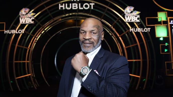 "LAS VEGAS, NEVADA - MAY 03: In this handout image provided by Hublot Mike Tyson attends the Hublot x WBC ""Night of Champions"" Gala at the Encore Hotel on May 03, 2019 in Las Vegas, Nevada. (Photo by Omar Vega/HUBLOT via Getty Images)"