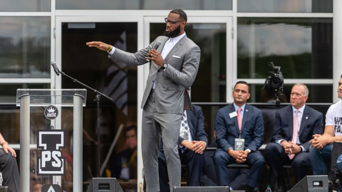 AKRON, OH - JULY 30: LeBron James addresses the crowd during the opening ceremonies of the I Promise School on July 30, 2018 in Akron, Ohio. The School is a partnership between the LeBron James Family foundation and the Akron Public School and is designed to serve Akron's most challenged students. (Photo by Jason Miller/Getty Images)