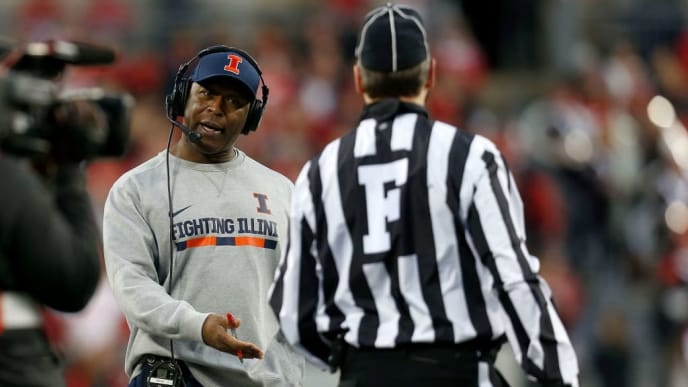 COLUMBUS, OH - NOVEMBER 18:  Head coach Lovie Smith of the Illinois Fighting Illini questions a call by an official during the first quarter of the game against the Ohio State Buckeyes on November 18, 2017 at Ohio Stadium in Columbus, Ohio. (Photo by Kirk Irwin/Getty Images)