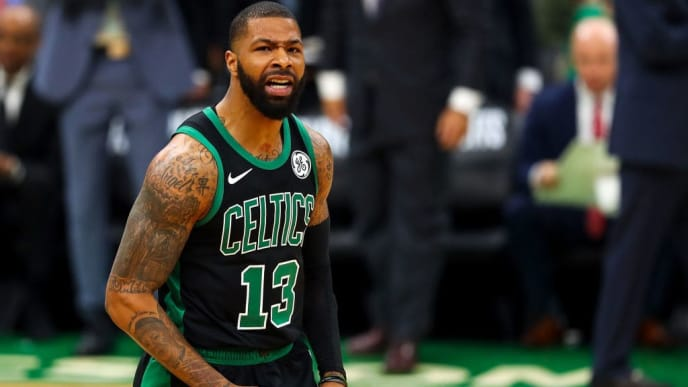 BOSTON, MA - APRIL 14:  Marcus Morris #13 of the Boston Celtics reacts during Game One of the first round of the 2019 NBA Eastern Conference Playoffs against the Indiana Pacers at TD Garden on April 14, 2019 in Boston, Massachusetts. NOTE TO USER: User expressly acknowledges and agrees that, by downloading and or using this photograph, User is consenting to the terms and conditions of the Getty Images License Agreement. (Photo by Adam Glanzman/Getty Images)