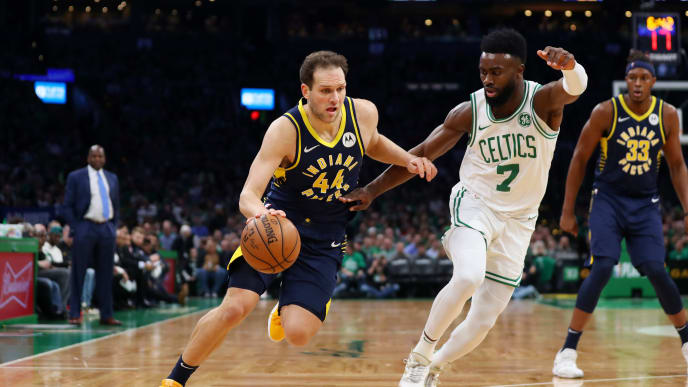 BOSTON, MASSACHUSETTS - APRIL 17: Bojan Bogdanovic #44 of the Indiana Pacers drives against Jaylen Brown #7 of the Boston Celtics during the third quarter of Game Two of Round One of the 2019 NBA Playoffs at TD Garden on April 17, 2019 in Boston, Massachusetts. NOTE TO USER: User expressly acknowledges and agrees that, by downloading and or using this photograph, User is consenting to the terms and conditions of the Getty Images License Agreement. (Photo by Maddie Meyer/Getty Images)