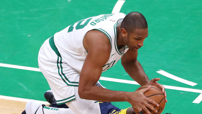 BOSTON, MASSACHUSETTS - APRIL 17: Al Horford #42 of the Boston Celtics grabs the ball from Darren Collison #2 of the Indiana Pacers during the first quarter of Game Two of Round One of the 2019 NBA Playoffs at TD Garden on April 17, 2019 in Boston, Massachusetts. NOTE TO USER: User expressly acknowledges and agrees that, by downloading and or using this photograph, User is consenting to the terms and conditions of the Getty Images License Agreement. (Photo by Maddie Meyer/Getty Images)