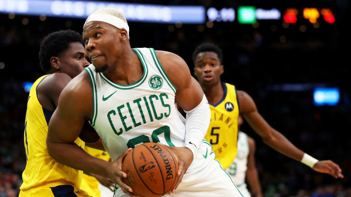 BOSTON, MASSACHUSETTS - JANUARY 09: Guerschon Yabusele #30 of the Boston Celtics drives towards the basket during the second half of the game against the Indiana Pacers  at TD Garden on January 09, 2019 in Boston, Massachusetts. The Celtics defeat the Pacers 135-108.  NOTE TO USER: User expressly acknowledges and agrees that, by downloading and or using this photograph, User is consenting to the terms and conditions of the Getty Images License Agreement. (Photo by Maddie Meyer/Getty Images)