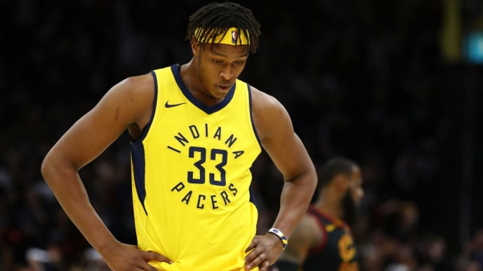 CLEVELAND, OH - APRIL 29: Myles Turner #33 of the Indiana Pacers leave the floor after fouling out agent the Cleveland Cavaliers in Game Seven of the Eastern Conference Quarterfinals during the 2018 NBA Playoffs at Quicken Loans Arena on April 29, 2018 in Cleveland, Ohio. Cleveland won the game 105-101 to win there series. NOTE TO USER: User expressly acknowledges and agrees that, by downloading and or using this photograph, User is consenting to the terms and conditions of the Getty Images License Agreement. (Photo by Gregory Shamus/Getty Images)