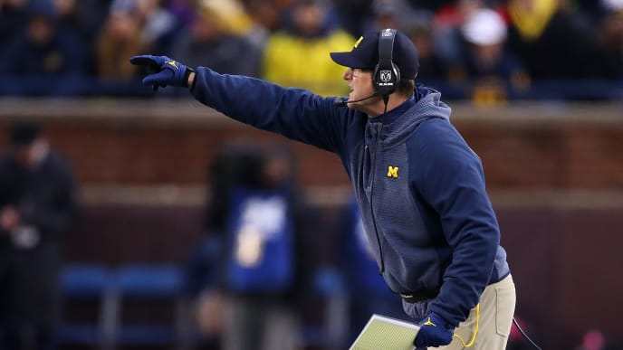 ANN ARBOR, MICHIGAN - NOVEMBER 17:  Head coach Jim Harbaugh reacts while playing the Indiana Hoosiers at Michigan Stadium on November 17, 2018 in Ann Arbor, Michigan. Michigan won the game 31-20. (Photo by Gregory Shamus/Getty Images)