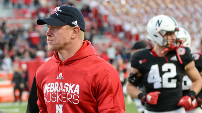 LINCOLN, NE - OCTOBER 26: Head coach Scott Frost of the Nebraska Cornhuskers walks off the field after the loss against the Indiana Hoosiers at Memorial Stadium on October 26, 2019 in Lincoln, Nebraska. (Photo by Steven Branscombe/Getty Images)