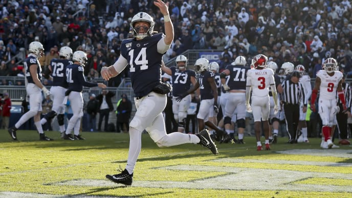 STATE COLLEGE, PA - NOVEMBER 16: Sean Clifford #14 of the Penn State Nittany Lions celebrates after scoring a touchdown against the Indiana Hoosiers during the fourth quarter at Beaver Stadium on November 16, 2019 in State College, Pennsylvania. (Photo by Scott Taetsch/Getty Images)