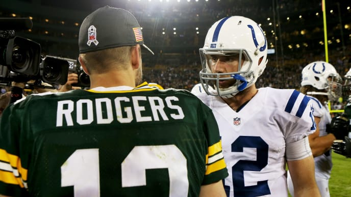 GREEN BAY, WI - NOVEMBER 06:  Andrew Luck #12 of the Indianapolis Colts and Aaron Rodgers #12 of the Green Bay Packers meet after the Indianapolis Colts beat the Green Bay Packers 31-26 at Lambeau Field on November 6, 2016 in Green Bay, Wisconsin.  (Photo by Dylan Buell/Getty Images)