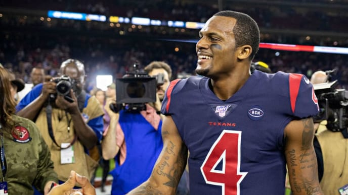 HOUSTON, TX - NOVEMBER 21:  Deshaun Watson #4 of the Houston Texans is congratulated by players after a game against the Indianapolis Colts at NRG Stadium on November 21, 2019 in Houston, Texas.  The Texans defeated the Colts 20-17. (Photo by Wesley Hitt/Getty Images)