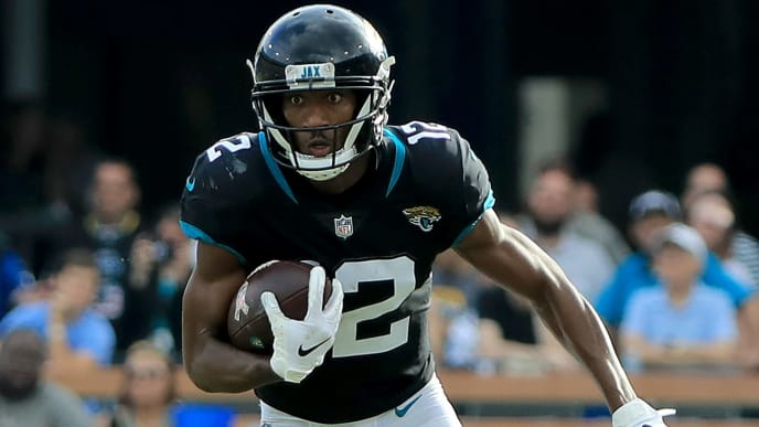 JACKSONVILLE, FLORIDA - DECEMBER 02: Dede Westbrook #12 of the Jacksonville Jaguars runs for yardage during the game against the Indianapolis Colts on December 02, 2018 in Jacksonville, Florida. (Photo by Sam Greenwood/Getty Images)