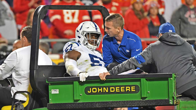 KANSAS CITY, MO - OCTOBER 06:  Defensive end Kemoko Turay #57 of the Indianapolis Colts gets carted off the field after getting injured during the second half against the Kansas City Chiefs at Arrowhead Stadium on October 6, 2019 in Kansas City, Missouri. (Photo by Peter Aiken/Getty Images)