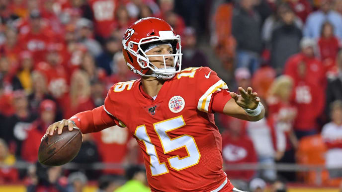 KANSAS CITY, MO - OCTOBER 06:  Quarterback Patrick Mahomes #15 of the Kansas City Chiefs throws a pass down field against the Indianapolis Colts during the second half at Arrowhead Stadium on October 6, 2019 in Kansas City, Missouri. (Photo by Peter Aiken/Getty Images)