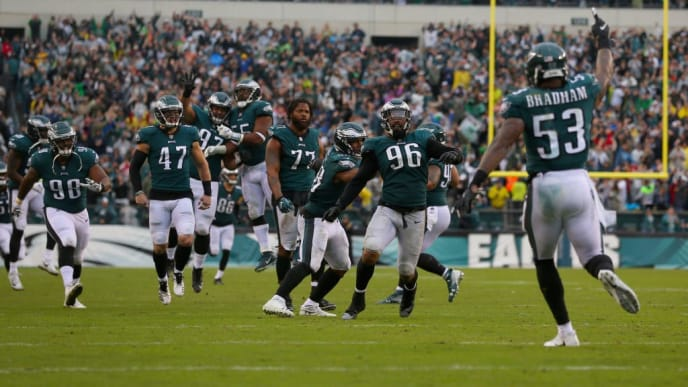 PHILADELPHIA, PA - SEPTEMBER 23:  Defensive end Derek Barnett #96 of the Philadelphia Eagles celebrates his sack on fourth and goal in the final minutes of the game against the Indianapolis Colts during the fourth quarter at Lincoln Financial Field on September 23, 2018 in Philadelphia, Pennsylvania. The Philadelphia Eagles won 20-16.  (Photo by Mitchell Leff/Getty Images)