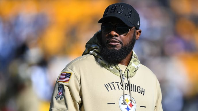 PITTSBURGH, PA - NOVEMBER 03:  Head coach Mike Tomlin of the Pittsburgh Steelers looks on during warmups prior to the game against the Indianapolis Colts at Heinz Field on November 3, 2019 in Pittsburgh, Pennsylvania. (Photo by Joe Sargent/Getty Images)