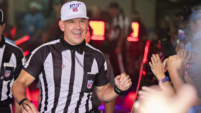 NASHVILLE, TN - SEPTEMBER 15:  Referee Clete Blakeman greets fans in the tunnel before a game between the Indianapolis Colts and the Tennessee Titans at Nissan Stadium on September 15, 2019 in Nashville,Tennessee.  The Colts defeated the Titans 19-17.  (Photo by Wesley Hitt/Getty Images)
