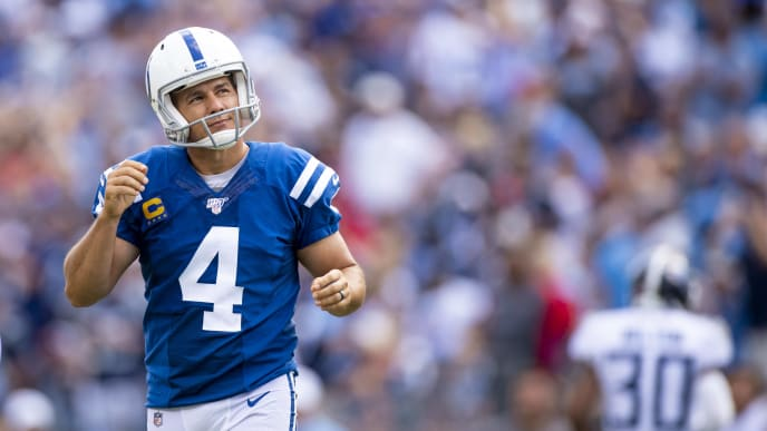 NASHVILLE, TN - SEPTEMBER 15:  Adam Vinatieri #4 of the Indianapolis Colts reacts to hitting the right upright and missing a point after try during the fourth quarter against the Tennessee Titans at Nissan Stadium on September 15, 2019 in Nashville, Tennessee. Indianapolis defeats Tennessee 19-17.  (Photo by Brett Carlsen/Getty Images)