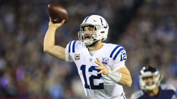 NASHVILLE, TN - DECEMBER 30: Andrew Luck #12 of the Indianapolis Colts throws a pass for a touchdown against the Tennessee Titans during the first quarter at Nissan Stadium on December 30, 2018 in Nashville, Tennessee. (Photo by Andy Lyons/Getty Images)
