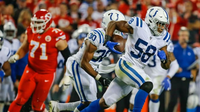 KANSAS CITY, MO - OCTOBER 06: Bobby Okereke #58 of the Indianapolis Colts returns an interception in the third quarter against the Kansas City Chiefs at Arrowhead Stadium on October 6, 2019 in Kansas City, Missouri. The interception was challenged by the Chiefs and overturned on replay. (Photo by David Eulitt/Getty Images)